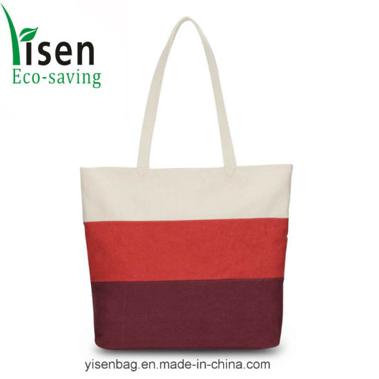 Fashion Stitching Color Lady′s Canvas Beach Tote Bag pictures & photos