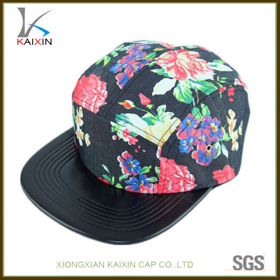 ed005885dca China Custom Leather Brim Black Blank 5 Panel Hats and Caps - China ...