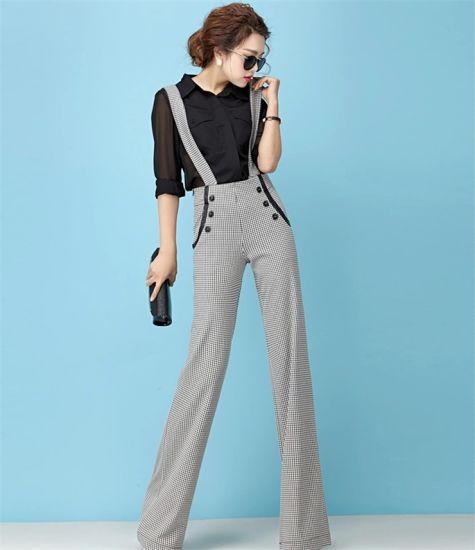 d1969785367 European Fashion Wide Leg Check Strap Long Pants (detachable strap)  pictures   photos