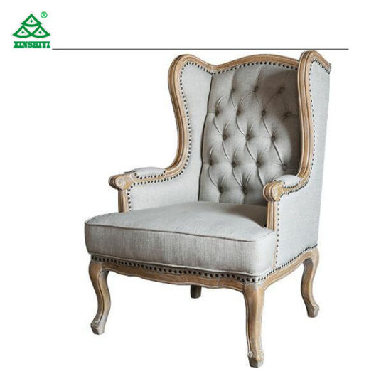European Rustic Wooden Leisure Chair For Bedroom, Antique Upholstered  Armchairs