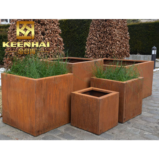 China Superior Design Corten Steel Metal Large Garden Planters
