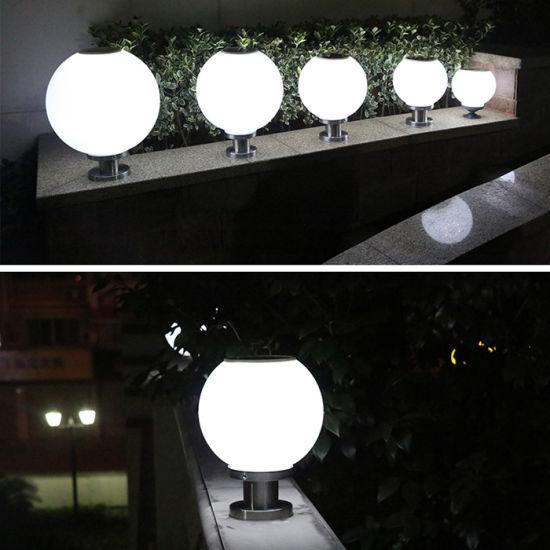 Outdoor Waterproof I Watt Light Sensor Ball Shape Solar Pillar Gate Lamp For Garden Courtyard Decoration