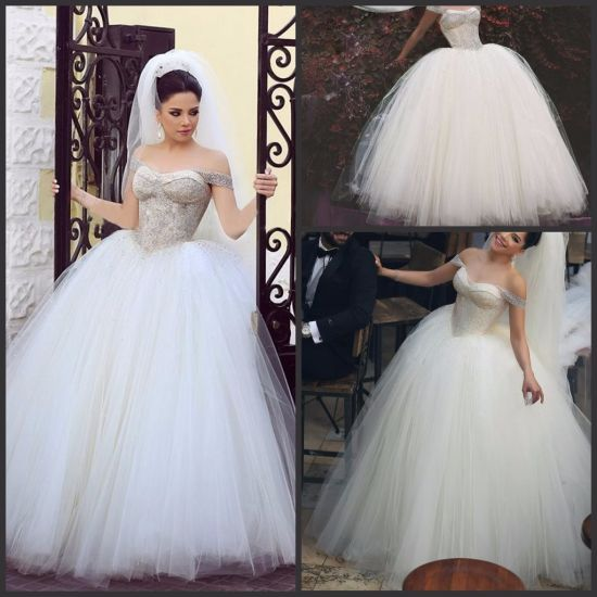 China Off Shoulder Bridal Ball Gowns Beaded Corset Wedding Dress