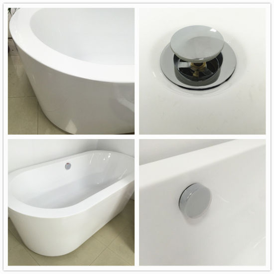 Comfortable Size Rectangle Freestanding White Solid Surface Bathtub (BS-8620) pictures & photos