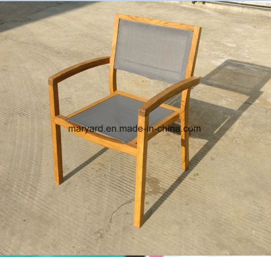 Outdoor Mesh Fabric Teak Dining Chair Pictures Photos