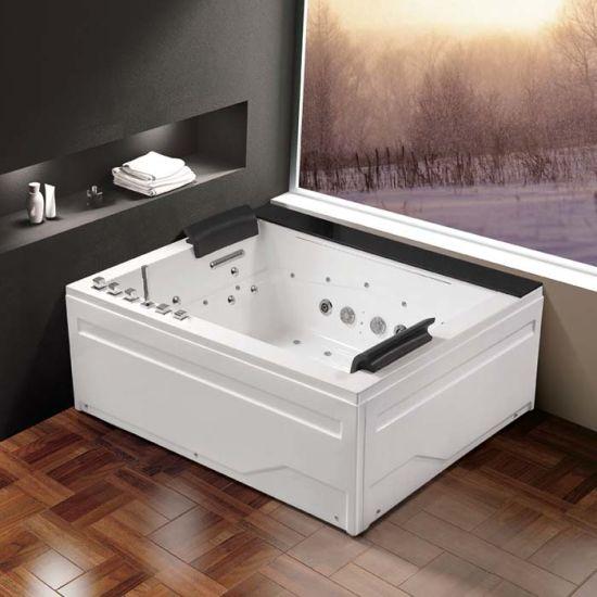 China Rectangle Acrylic Massage SPA Bathtub with LED Light (K1285 ...