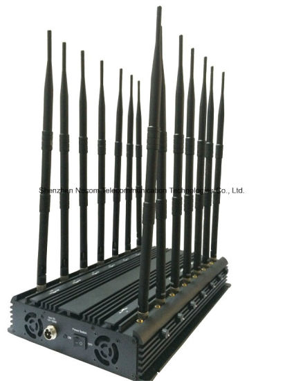 Powerful Black Desktop Cell Phone & Wi-Fi & GPS Jammer, 14 Band Jammer Cell Phone Jammer for 2g+3G+2.4G+4G+GPS+VHF+UHF pictures & photos