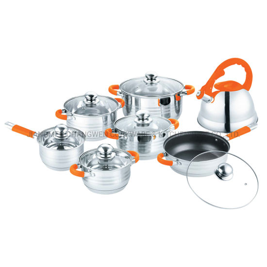 Kitchenware 14 PCS Cooking Pot Stainless Steel Non Stick Cookware with Non Stick Fry Pan