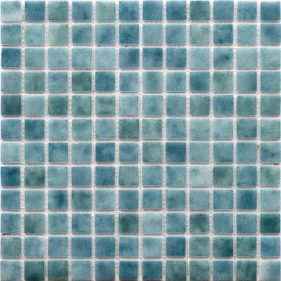 China Green Color Glossy Sea Glass, Sea Glass Mosaic Tile Bathroom