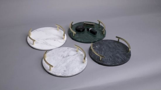 Luxury Round Marble jewelry Tray Marble Cosmetic Tray with Golden Holders Marble Handicrafts for Bathroom Restaturant Hotel Decoration