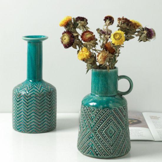China Wholesale Bohemian Style Pottery Flower Vase Decor Home Craft Decorative Vases High Quality Ceramic Vase China Ceramic Vase And Home Decor Price