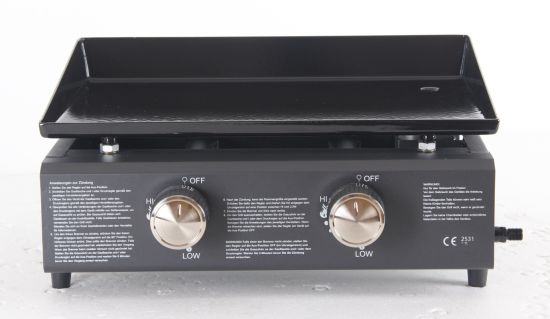 2 Burner Gas BBQ, Gas Plancha with Ce, LFGB