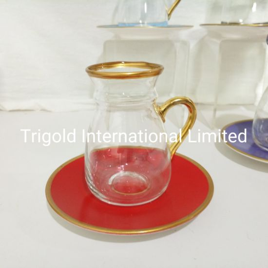 Turkish Greek Arabic Tea Glasses and Saucers Set with Gold
