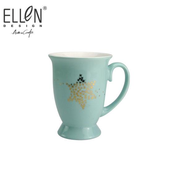 Wholesale Star of David Design Real Gold Ceramic Mug