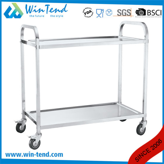 Four Wheel Big Size Movable Stainless Steel Square Tube Two Tier Tray Service Trolley Cart for Kitchen pictures & photos