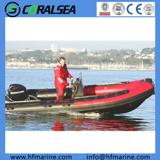 15.4FT 4.7m PVC/Hypalon Inflatable Fiberglass Rib Outboard Motor Boats with Center Console for Fishing/Work/Sport/Speed Military