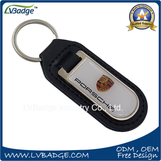 Custom Metal Car Brand Logo Leather Keyring pictures & photos