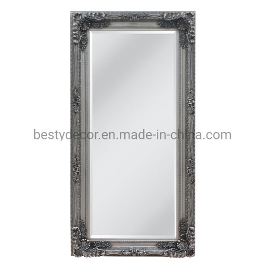 Simple European Full Length Standing Wooden Frame Mirror, Antique Silver