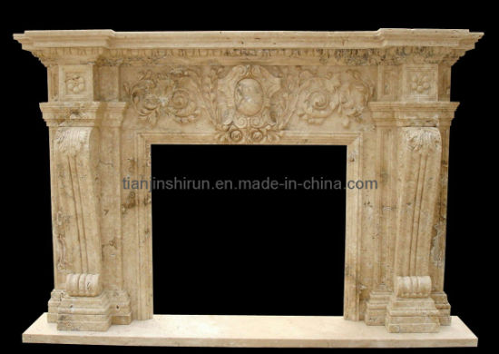 Travertine Stone Limestone Carving Fireplace Mantel (XF-318) pictures & photos