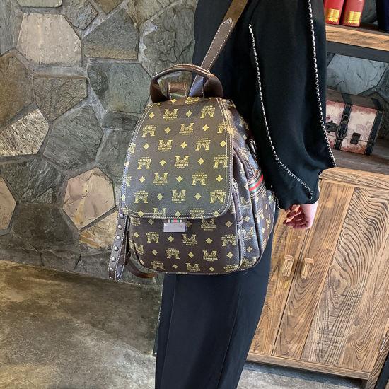 Fashion Bag Manufacturer Letter Print PVC Ladies Backpack Bag Casual Shoulder Bag