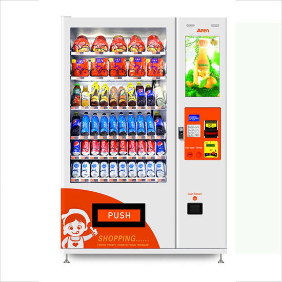 Afen 22 Inch Touch Screen Automatic Hot Vending Machine China for Sancks and Drinks