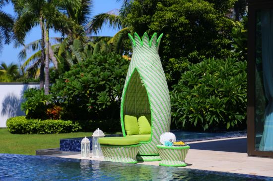 Big Rattan Weave Outdoor Sunbed Furniture with High Density Handmake Rattan Weave