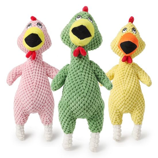 Wholesale Colorful Squeaky Cute Screaming Chicken Plush Pet Dog Toys