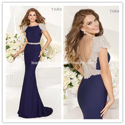 Navy Blue Crystals Beading Backless Prom Evening Dress Yao73