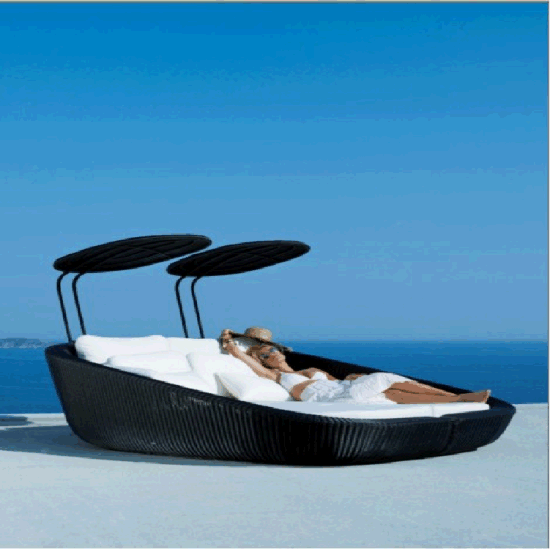 Factory Produce Outdoor Garden Patio Rattan Daybed Sunbed