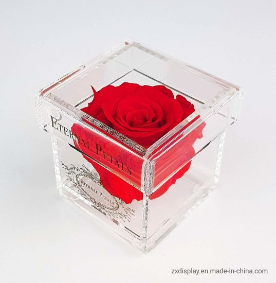 Valentine's Day Luxury Acrylic Rose Flower Packing Box for Gift