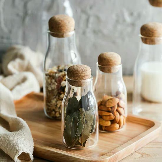 Transparent Sealed Food Storage Glass Jar with Wooden Lid pictures & photos