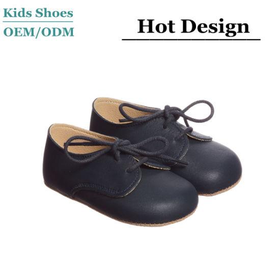 2019 Guangzhou Fashion Shoeslace Soft Sole Leather Boy Baby Shoes