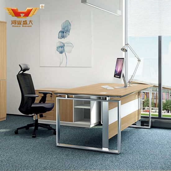 Fashion Office Desk with Metal Legs Manager Table with Drawer (H85-0171)