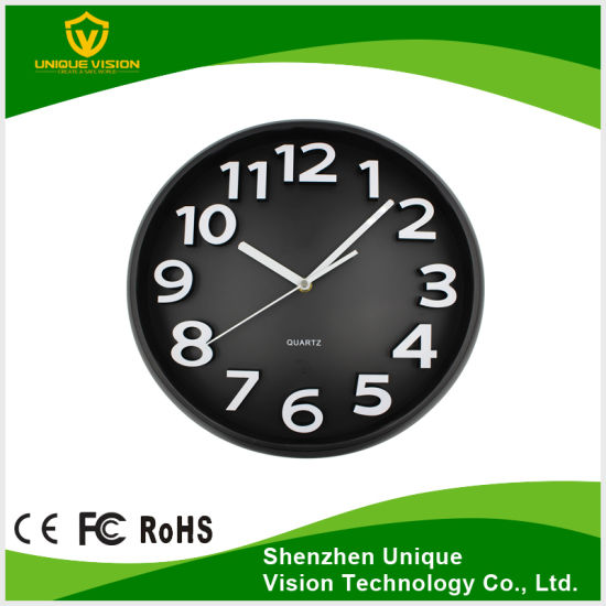 1080P/720p/VGA/Qvga Video Resolution CMOS Super Invisible Lens PIR Wall Clock Camera pictures & photos
