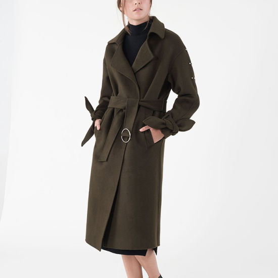 Winter Ladies Overcoat Trench Cashmere Belted Coat for Women pictures & photos