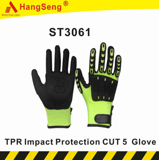 TPR Cut Impact Vibration Resistant Safety Work Glove for Industrial