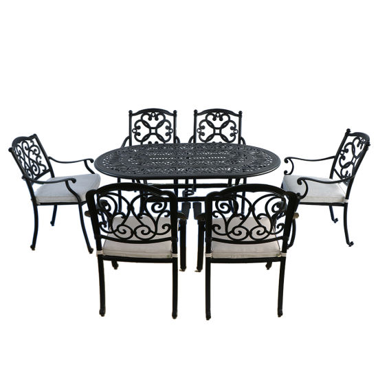 7 Piece Cast Aluminum Oval Patio Dining Table Set Antique Bronze