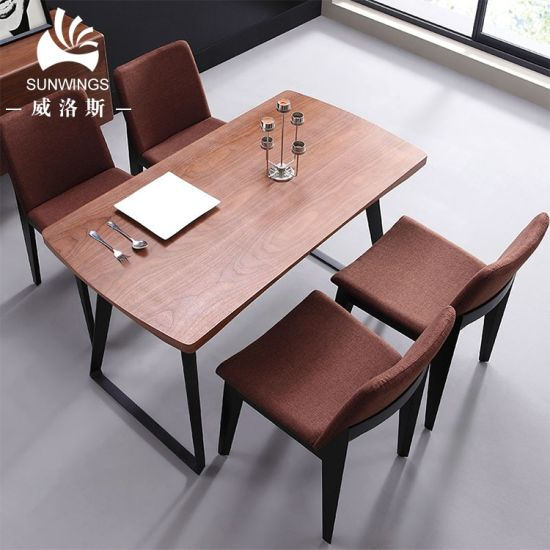 Modern Wooden Dining Table Metal Leg Dining Tables and Chairs Set
