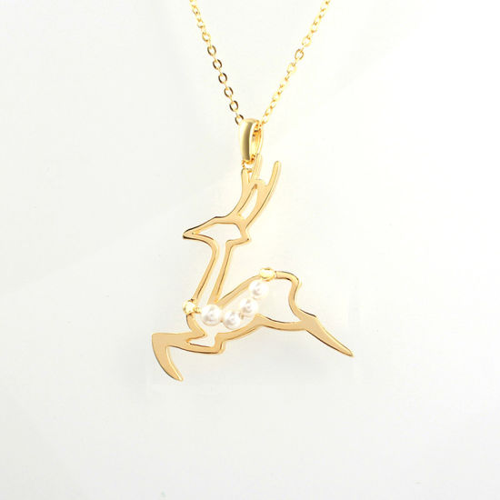 Christmas Deer with Pearl 925 Sterling Silver Jewelry Necklace