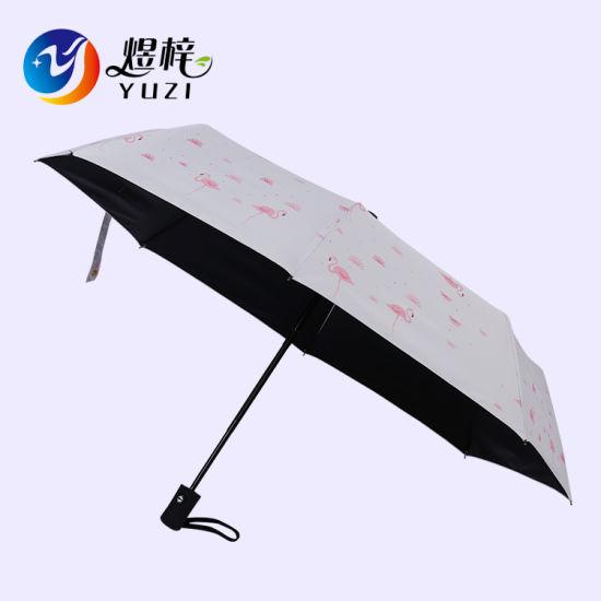 Hot Selling Anti UV Auto Open and Close Printed 3 Folding Umbrella