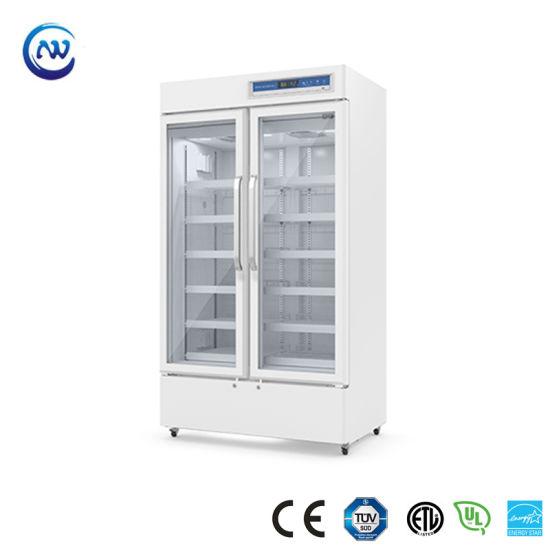 2º C~8º C Upright Double Door Pharmacy Medical Laboratory Vaccine Refrigerator