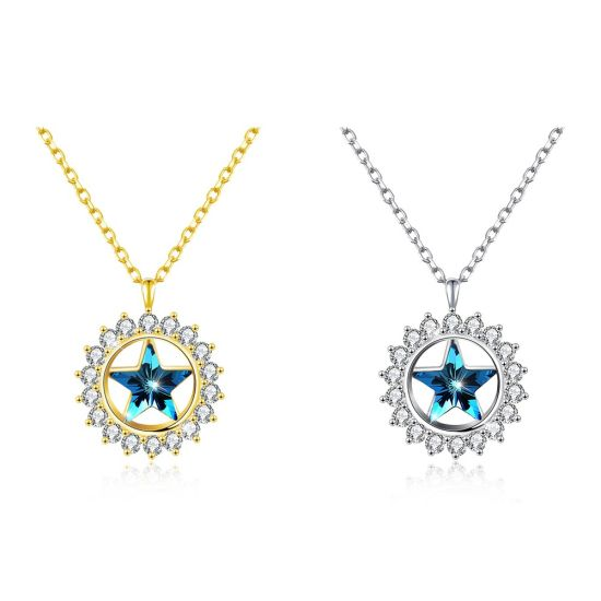 c2b6dc1c38f Latest Design New Fashion Necklace Jewelry Statement Gift Elegant Swarovski  Crystal Colorful Round Star 925 Sterling Silver Simple Necklace