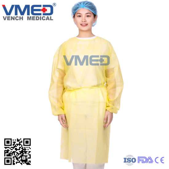 Disposable SMS Yellow Surgical Gown, SMS Isolation Gown with Elastic Cuff, Surgical Gown with Elastic Cuffs, Disposable SMS Sterile Surgical Gown pictures & photos
