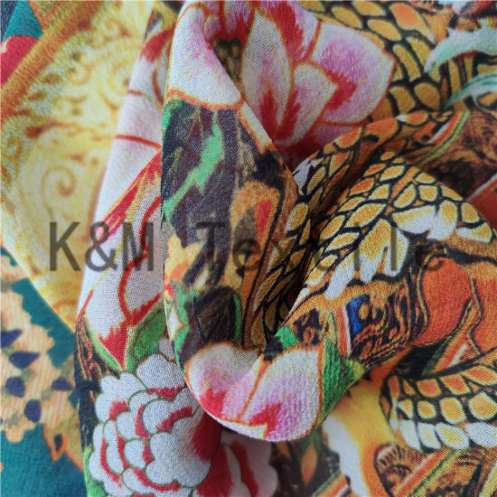 100% Silk Crinkle Ggt Print Georgette Fabric