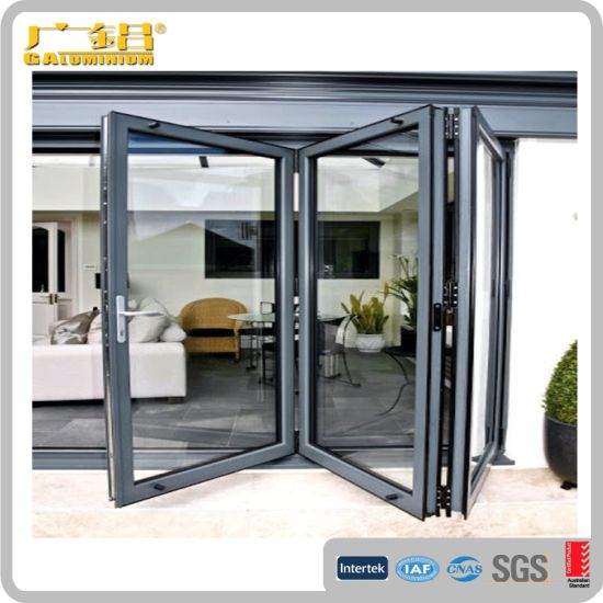 Aluminium Bi Folding Door Wood Color with Single Double Glass / Factory Price pictures & photos