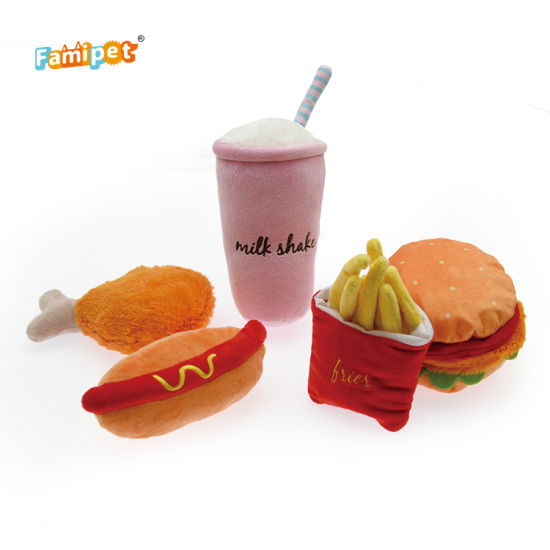 Amazon Hot Sales Fast Food Collection Squeaky Soft Plush Pet Dog Toy