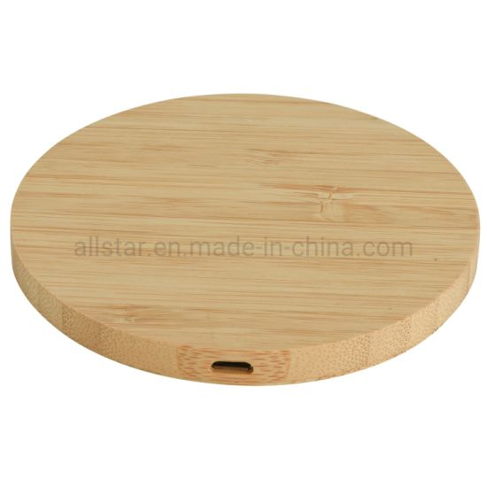 Qi Standard Portable Wireless Phone Charging Station Bamboo Wireless Charger