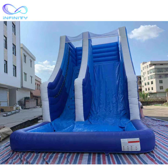 Blue Color Inflatable Bouncy Slide Inflatable Water Slide with Pool pictures & photos