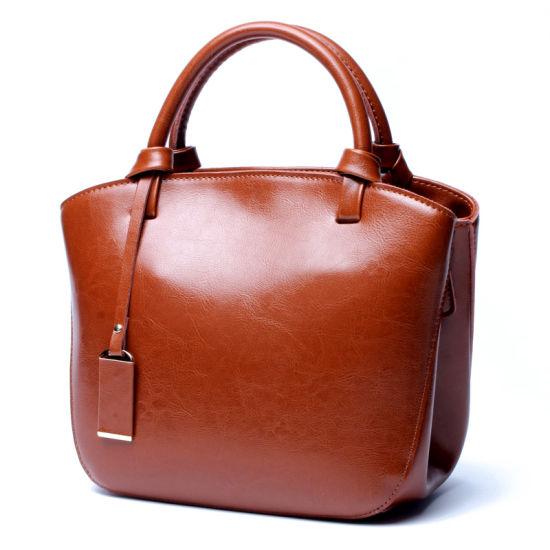 New Design Retro Style Oil Wax Leather Ladies Handbags
