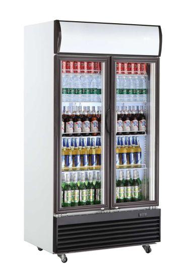 Double Door Upright Beverage Display Refrigerator for Supermarket (LG-1400BF)